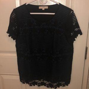 AT Loft blue underlay crocheted top shirt Large